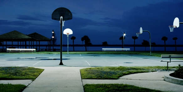 Evening bball courts