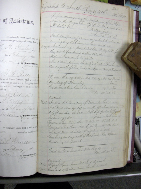 """S.A. Hanson's GLO field notes in 1880,  where King began the Yosemite Grant survey 16 years earlier.  His first corner closing on the YG survey is marked by two medium sized """"Yellow"""" (ponderosa) pines."""