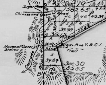 "The NW corner--and starting point--of the 1964 Yosemite Grant survey, as marked by ""Sugar Pine Y.B.C. I"", for Yosemite Boundary Corner #1."