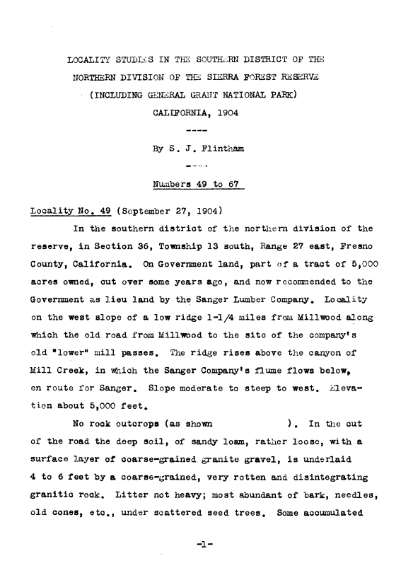 An example first page of one of many old field reports and data summaries involved