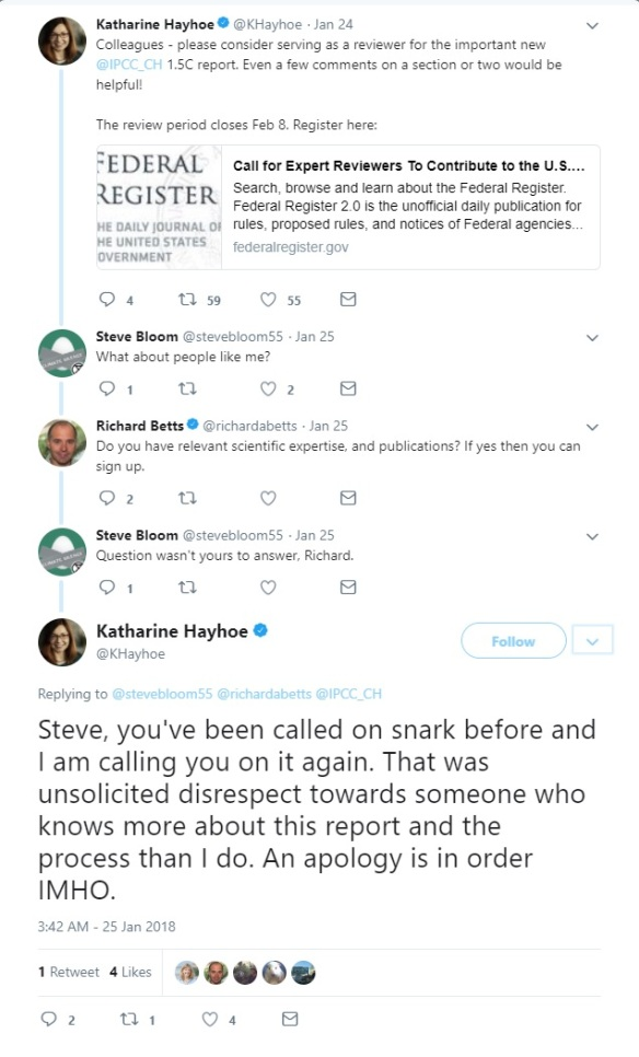 Hayhoe Twitter comments